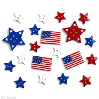 Bouton décoratif - Tour du monde - Etats-Unis x 20