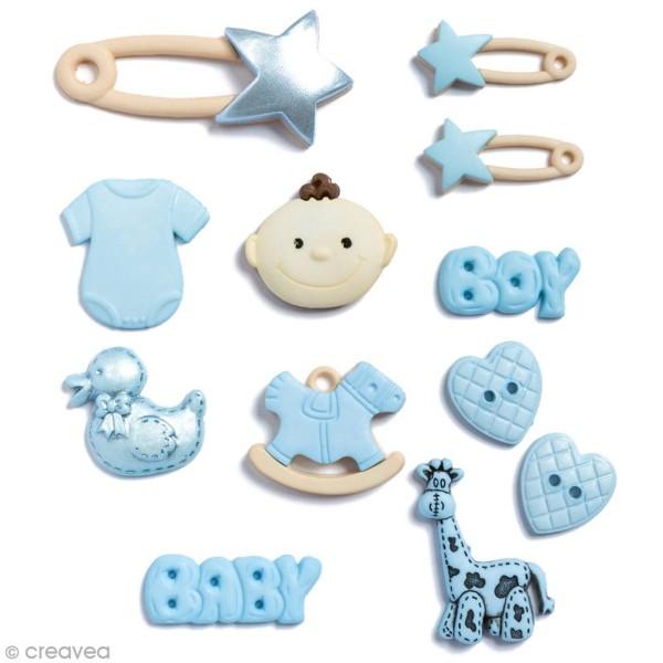 Bouton décoratif à coller - Naissance bébé bleu garçon - 12 pcs - Photo n°1