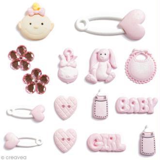 Bouton décoratif - Naissance rose - Naissance baby girl x 15