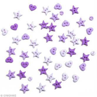 Bouton décoratif - Poudre d'étoiles - Etoiles et coeurs violets x 10 gr