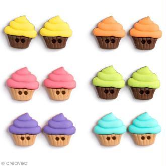 Bouton décoratif - Gourmandise - Cupcakes multicolores x 12