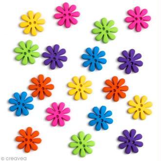 Bouton décoratif - Printemps - Fleurs rétro x 18