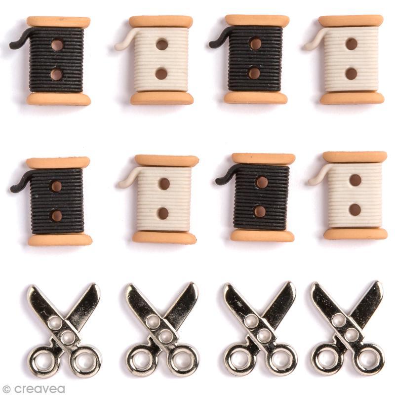 bouton d coratif couture ciseaux et bobines x 12