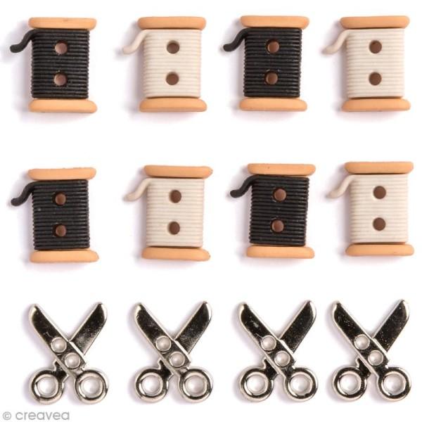 Bouton décoratif - Couture - Ciseaux et bobines x 12 - Photo n°1