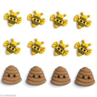Bouton décoratif - Au zoo - Abeilles et pot de miel x 12