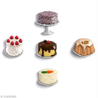 Bouton décoratif - Gourmandise - Gros gâteaux x 5