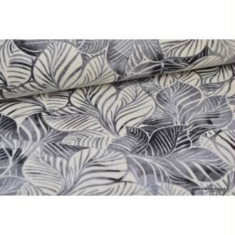 Tissu Canva coton imprimé Feuilles tropicales Grises