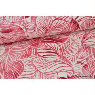 Tissu Canva coton imprimé Feuilles tropicales Roses