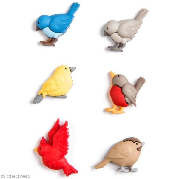 Bouton décoratif à coller - Je saute ou je vole - Oiseaux multicolores x 6 - Photo n°1