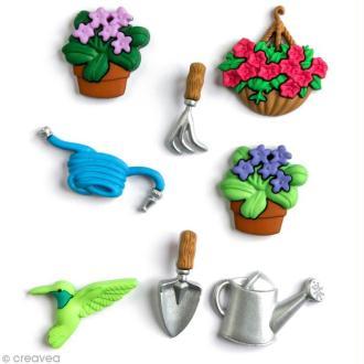 Bouton décoratif - Printemps - Outils jardin x 8