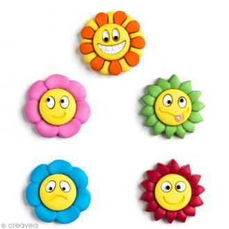 Bouton décoratif - Plage - Fleurs smileys x 5