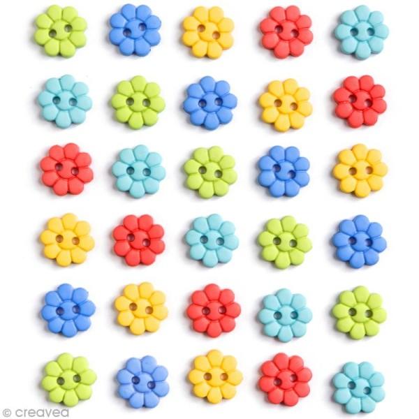 Bouton décoratif - Printemps - Petites fleurs x 30 - Photo n°1