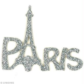 Motif thermocollant Girly - Mot Paris argent pailleté - 6 x 4,8 cm