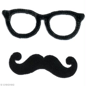 Motif thermocollant Moustache - Lunettes et moustache Noir - 2 pièces