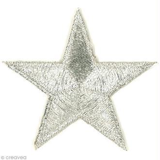 Motif thermocollant Army - Etoile argentée - 4,5 x 4,5 cm