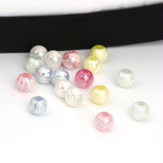 40 perles acryliques 8mm pastel  craquelées Mixtes -SC0107211-