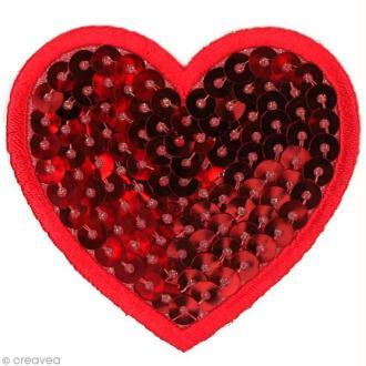 Motif thermocollant Babouchka - Coeur rouge à sequins - 5,6 x 5 cm