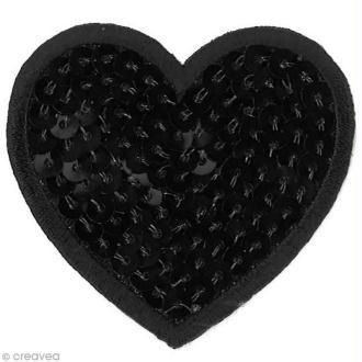Motif thermocollant Babouchka - Coeur noir à sequins - 5,6 x 5 cm