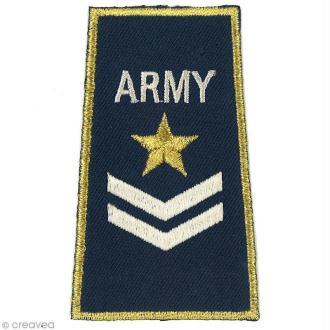 Motif thermocollant Army - Army bleu et or -8,4 x 4,9 cm