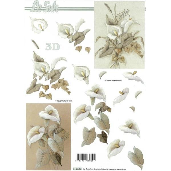 Feuille 3D à découper A4 Arum fleurs Condoléances - Photo n°1