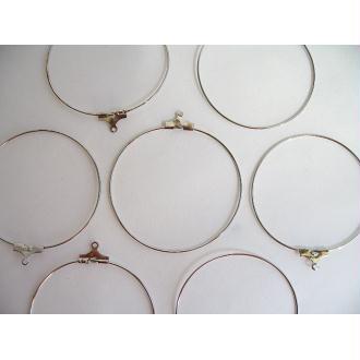 10 Support boucles d'oreille anneaux métal argenté 40mm