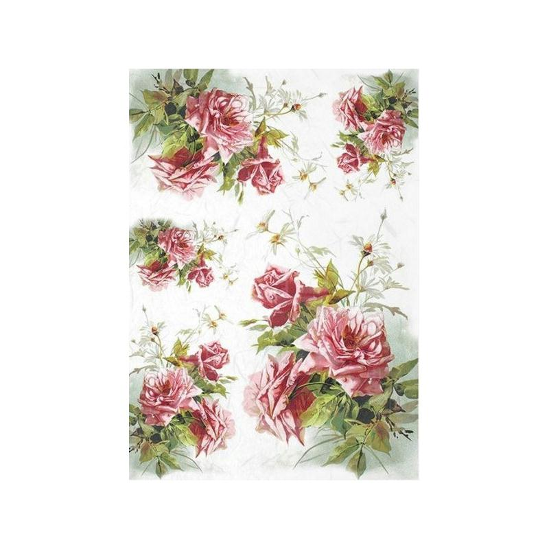 1 feuille de papier de riz 21 x 28 cm d coupage collage rose fleur 1207 papier de d coupage. Black Bedroom Furniture Sets. Home Design Ideas