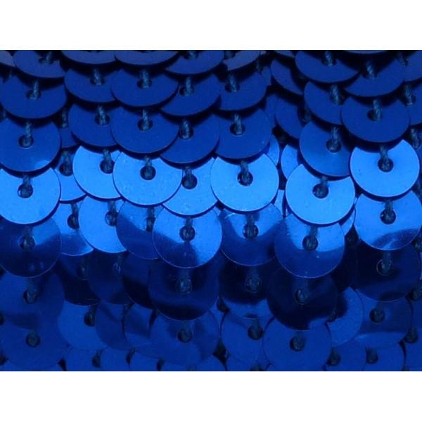 2m Ruban Galon Sequin De Couleur Bleu Roi 6mm Brillant - Photo n°1