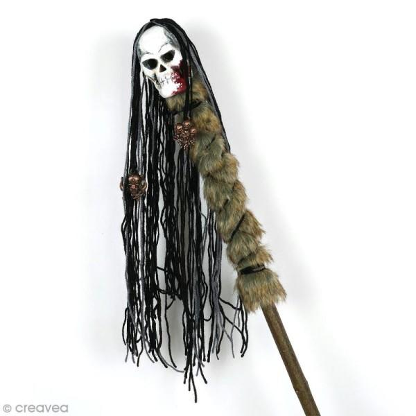 Tête de mort en papier mâché à décorer - 10 x 7 x 7 cm - Photo n°2