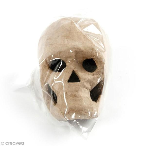 Tête de mort en papier mâché à décorer - 10 x 7 x 7 cm - Photo n°1
