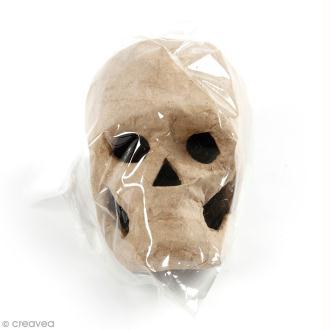 Tête de mort en papier mâché à décorer - 10 x 7 x 7 cm