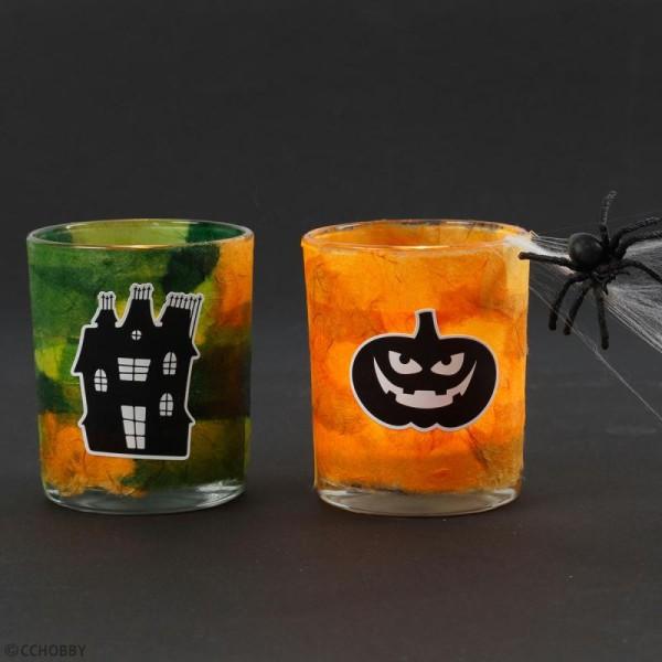 Stickers papier - Petits visages d'Halloween - 12 pcs - Photo n°2