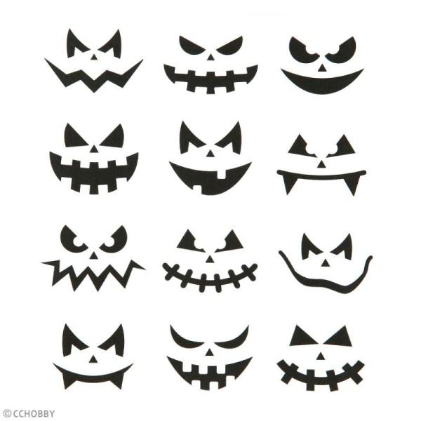 Stickers papier - Petits visages d'Halloween - 12 pcs - Photo n°3