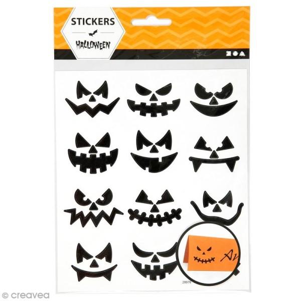Stickers papier - Petits visages d'Halloween - 12 pcs - Photo n°1