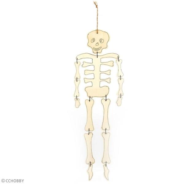 Squelette articulé en bois à décorer - 35 cm - Photo n°2