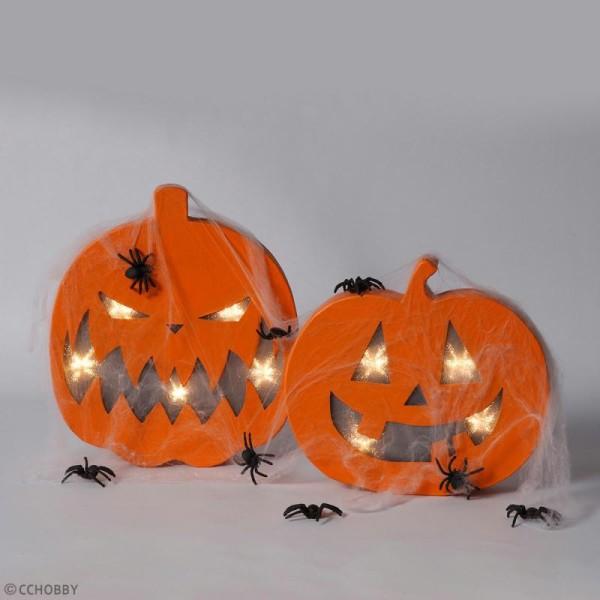 Lampe LED en papier mâché - Citrouille d'Halloween - 22 x 20 cm - Photo n°2