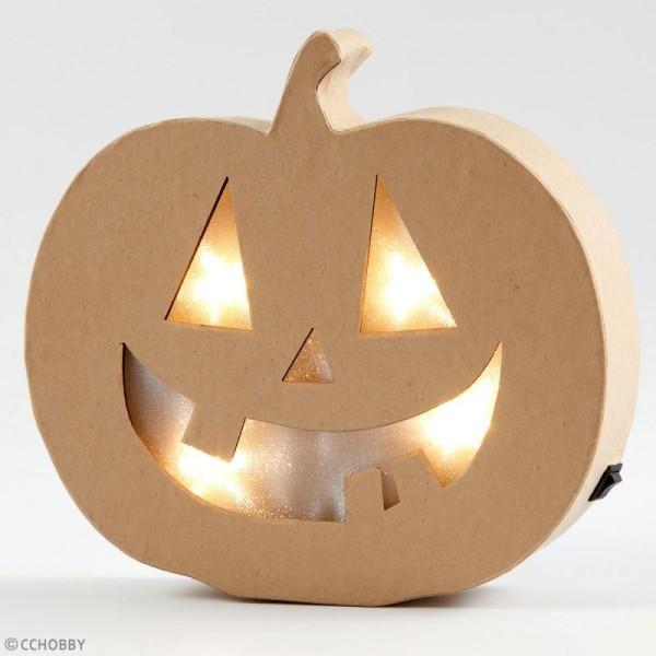 Lampe LED en papier mâché - Citrouille d'Halloween - 22 x 20 cm - Photo n°3