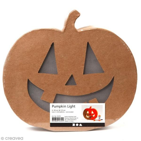 Lampe LED en papier mâché - Citrouille d'Halloween - 22 x 20 cm - Photo n°1