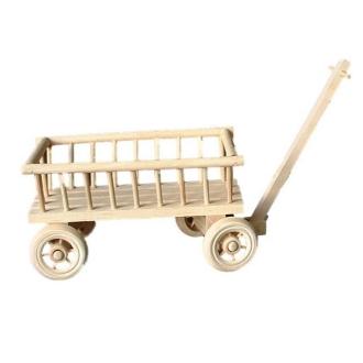Mini charrette en bois 13 cm x 8 cm