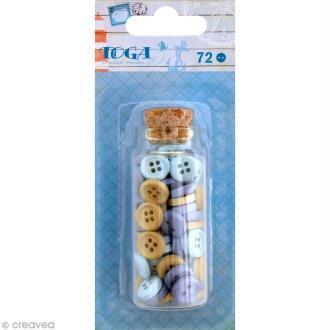 Bouton bois Toga 1 cm - Vue sur mer - 72 pièces