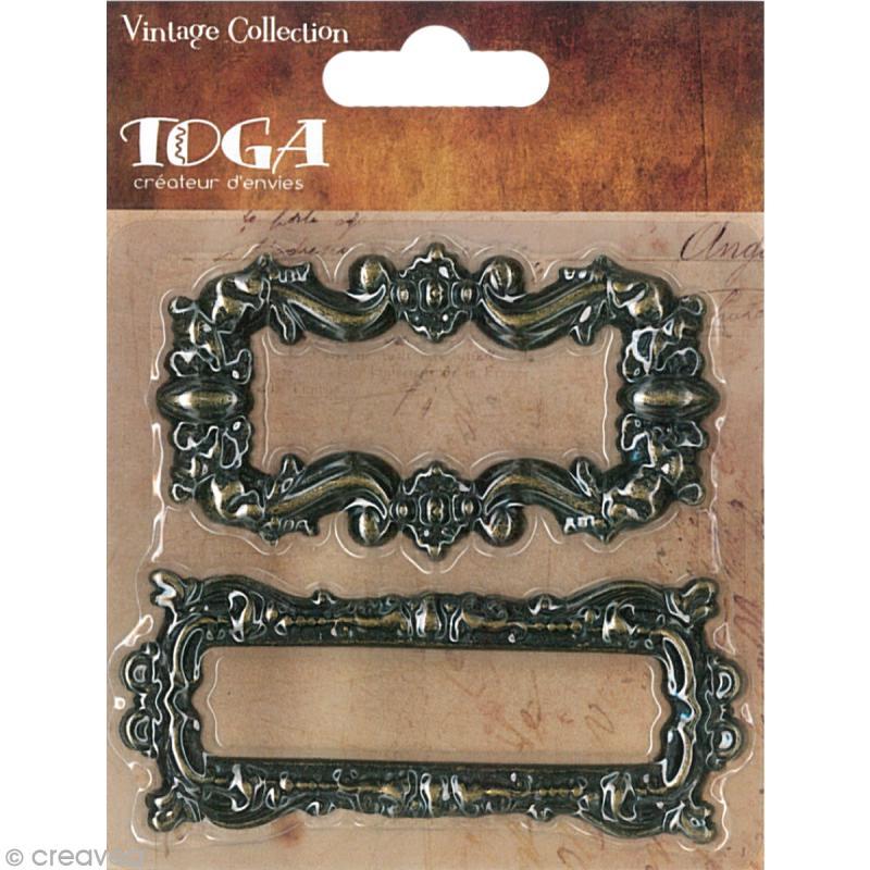 porte tiquette en m tal vintage 2 pi ces embellissement m tal creavea. Black Bedroom Furniture Sets. Home Design Ideas