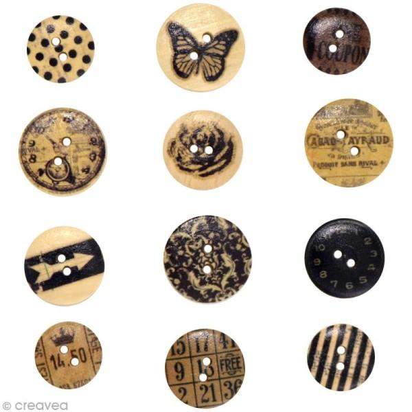 Bouton bois Toga - Vintage - 12 pièces - Photo n°2
