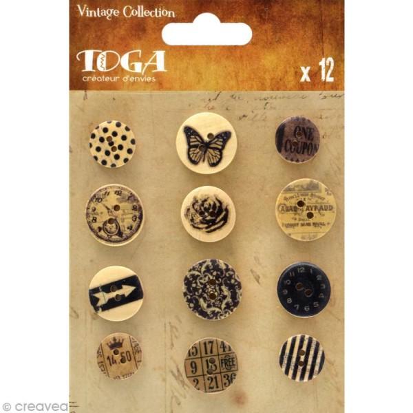Bouton bois Toga - Vintage - 12 pièces - Photo n°1