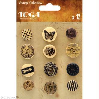Bouton bois Toga - Vintage - 12 pièces