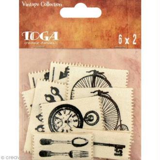Etiquette en tissu Toga - Vintage - 12 pièces