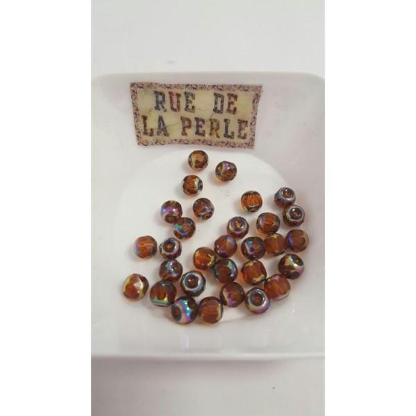 30 Perles en verre à facettes métallisé - 6mm - marron - Photo n°1