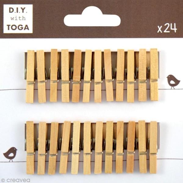 Mini pince à linge Toga 3 cm - Brut - 24 pièces - Photo n°1