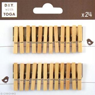 Mini pince à linge Toga 3 cm - Brut - 24 pièces