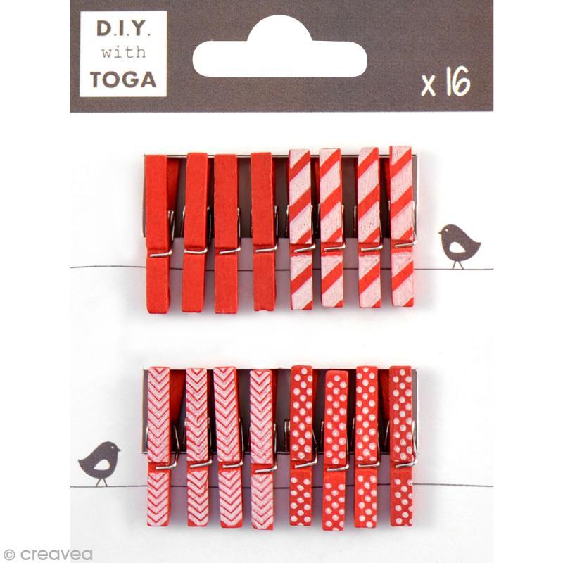 mini pince linge toga 3 cm rouge 16 pi ces mini. Black Bedroom Furniture Sets. Home Design Ideas