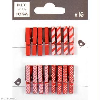 Mini pince à linge Toga 3 cm - Rouge - 16 pièces