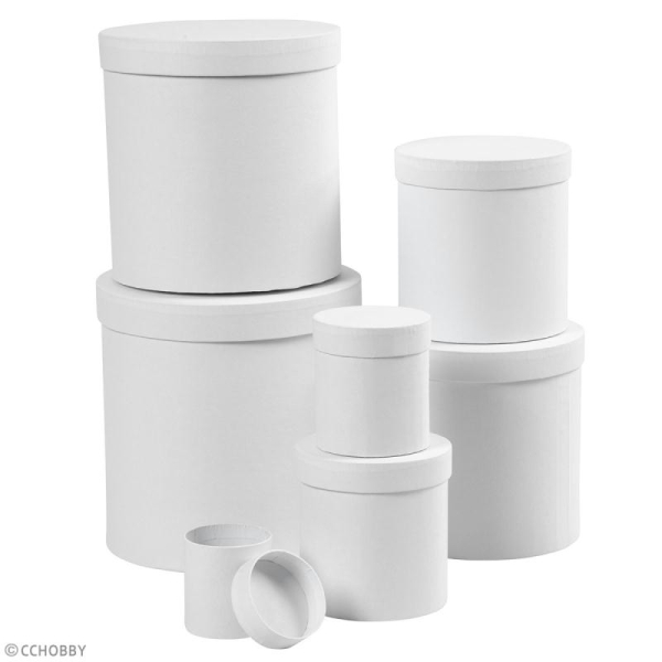 Assortiment de boîtes rondes à couvercle - Blanc - 7 à 22 cm - 7 pcs - Photo n°2